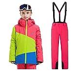 Sunbaby Skianzug Kinder Jacken und Hosen Winter Ski Set Winddicht wasserdicht Skianzüge (Mädchen Rose+Rose, 160/12-14 Jahre)