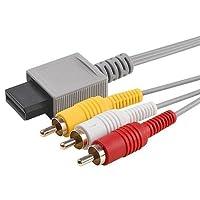 Link-e ®: cavo AV (audio / video) 1.80m RCA con connettori placcati oro per console di gioco Nintendo Wii