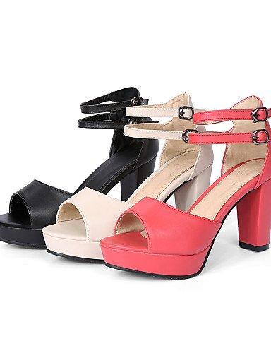 LFNLYX Chaussures Femme-Décontracté-Noir / Beige / Corail-Gros Talon-Talons / Bout Ouvert-Sandales-Similicuir Black