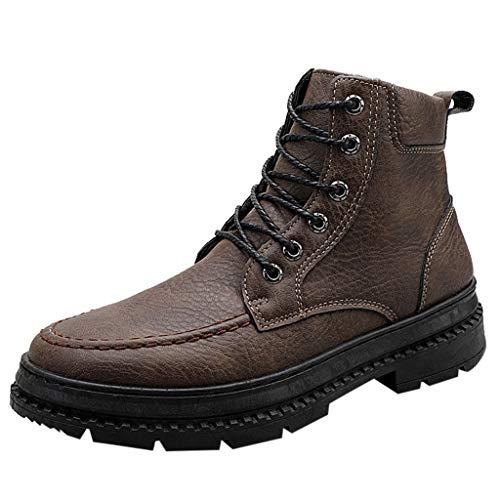 Fascino-M』 Herren Leather Klassische Stiefel Verschleißfest Mit Rutschfester Gummisohle Combat Boots -