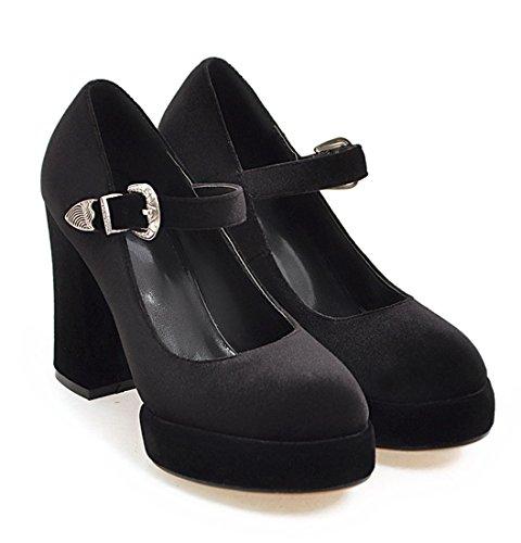 YE Damen Bequeme Retro High Heels Wildleder Pumps Plateau mit Blockabsatz und Riemchen Schnalle Schuhe Schwarz
