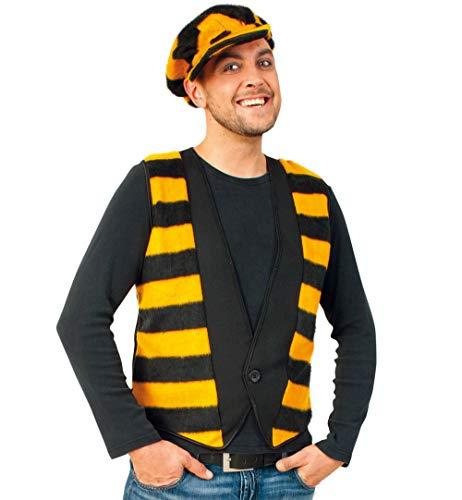 KarnevalsTeufel Herrenkostüm-Set Biene, Weste in schwarz-gelb mit Mütze | S, L, XXL | Tierkostüm Hummel Honigbiene (XXL)