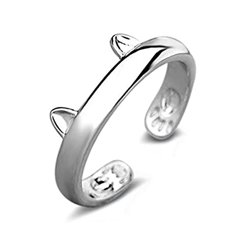 KEERADS Jewelry Simple Cat Adjustable Thumb Wrap Ring Gift Alloy Ring (Silver)