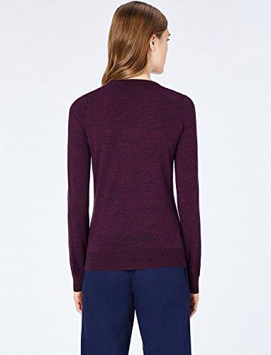 MERAKI Merino Pullover Damen mit V-Ausschnitt, Rot (Berry Marl), 36 (Herstellergröße: Small) - 6
