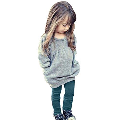 Saingace Kleinkind -Kind-Mädchen-Outfit Kleidung Warm Langarm-T-Shirt + Long Pants 1 Set Kinderkleidung Kleidung Outfits Bekleidungssets bekleidungssets (100) (Footed Sleeper Jungen)