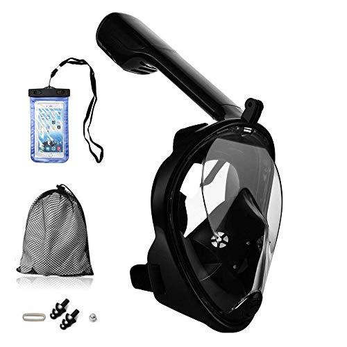 Tauchmaske Vollgesichtsmaske mit 180° Sichtfeld, Silikon Anti-Beschlag Wasserdicht für Kinder und Erwachsene Anti-Fog Anti-Leak, Schnorchelmaske Vollmaske mit Ohrdruckausgleich Funktion(L/XL, Schwarz)