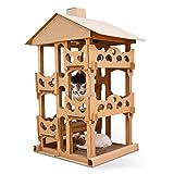 LOVEPET Katzenmöbel Haus Mit Gewellten Katzen Vierschichtige Katzenvilla DIY Katze Klettergerüst Katzenkratzbrett Katzennest Katzenspielzeug 73X54X100,9 cm