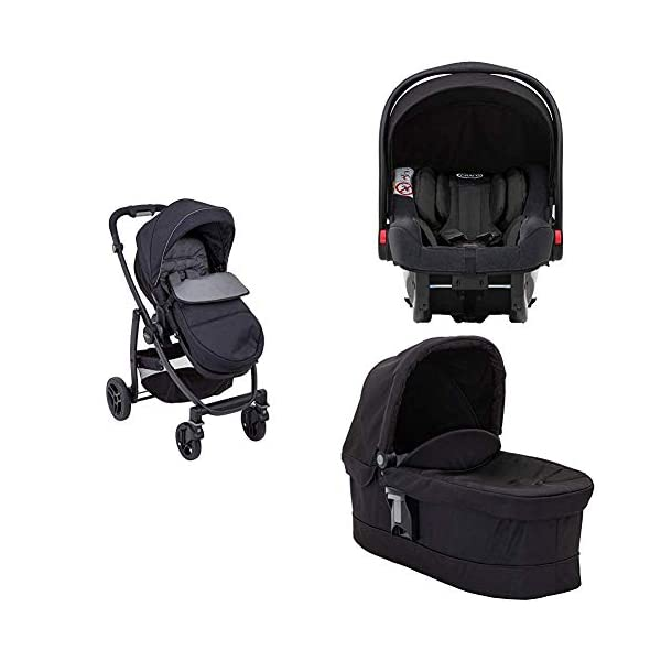 Garco Evo Pushchair and Luxury Carrycot, Black/Grey with SnugRide iSize Infant Car Seat, Midnight Black Graco Versatile pushchair with reversible seat that can lie flat Carrycot suitable from birth to approximately 6 months Rear-facing car seat for infants, suitable from birth up to 15 months (40-87cms) 1