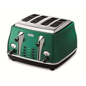 De`Longhi Icona CTM stylischer 4-Schreiben-Toaster im Retro-Look mit zwei ausziehbare Krümelauffänger und in Breite variable Toast-Kammern (Auftau / Aufwärmfunktion, 1600 Watt, 6-stufiger Bräunungsgrad) silber-grün