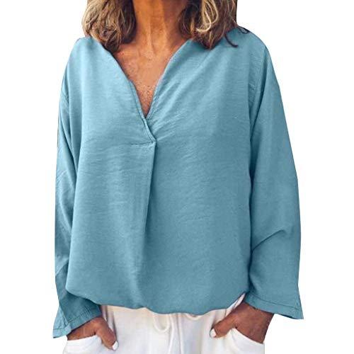 Yvelands Fashion Damen Bluse Plus Size Damen Fashion Solid Casual Leinen V-Ausschnitt Geraffte Langarm T-Shirt(Blau,XL) -