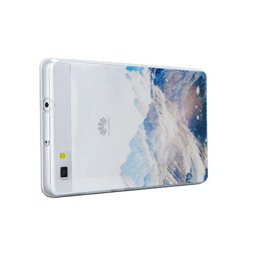 Huawei P8 Lite Hülle,EinsAcc Silikon Landschaft Weich Hülle Case Backcover für Huawei P8 Lite (Berg) Berg
