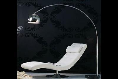 FineBuy Design Stehleuchte Big Bow chrom gebürstet mit Dimmerfunktion & höhenverstellbar Stehlampe Bogenlampe