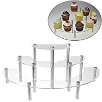 3-Tier Clear Acrylic Semicircle Round Cupcake Dessert Display Stand