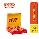 Ryder Preservativos - Paquete de 36 - Condones transparentes lubricados - Preservativos finos para una sensación natural