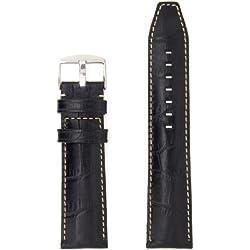 "ZRC 559 ""Indiana"" Handmade Genuine Leather Watch Strap, Black, 28mm"