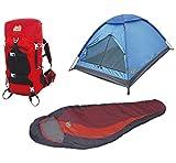 Alpinizmo High Peak USA 3Herren Zelt & 40Liter Wandern Pack Schlafsack, Rot/Blau, One size