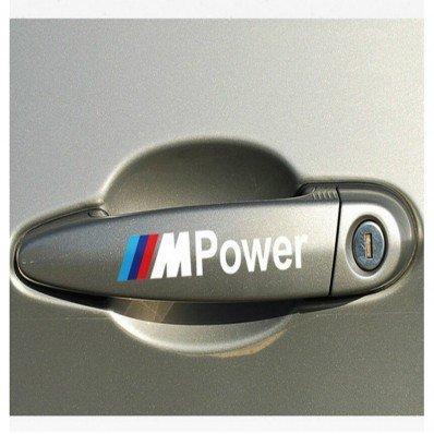 StickersLab, Aufkleber für PKW-Türgriff, geeignet für BMW M3, M5, X1, X3, X5, X6, E36, E39, E46, E30, E60, E92, F30, schwarze Schrift, 4 Stück Scritta
