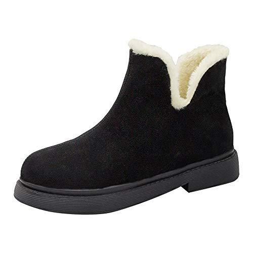 Bottes pour Dames d'hiver, Honestyi Mode Femmes Bottine Talon carré Chaussures Garder Chaud Côté tête Ronde avec Suede Slip-on Bottes Rondes Toe Velours Chaussures