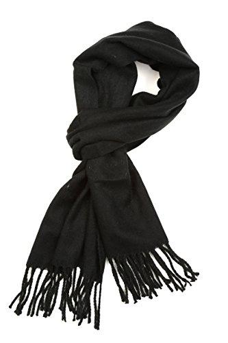 Sakkas 1590 -Booker Kaschmir fühlen feste farbige Unisex Winter-Schal mit Fransen - Schwarz - One Size Regular