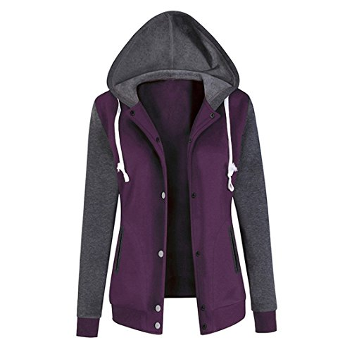 G Mode Damen Patchwork Langer Hülsen Kapuzenpullover Sweatshirt Drucken Beiläufige Tops Baseball Jacke Outwear (L, Lila) (Mädchen Assassins Creed)