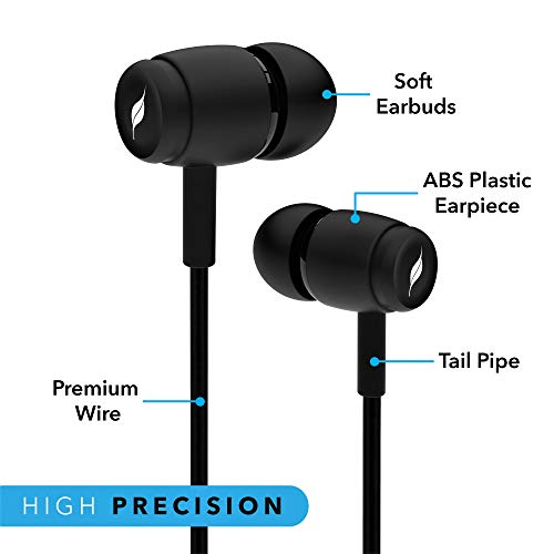 557d4c28448 Leaf Basic Wired Earphones with Mic and Inline Remote (Black) – GLAMBING