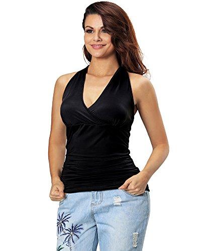 Aofur Damen Große Größen Sexy Tank ärmellos Party Tops V-Ausschnitt T-Shirt Bluse Oberteil (50, Schwarz) (Trendy Clothing Size Plus Womens)