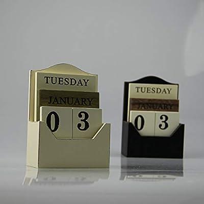 SMAQZ Calendario De Escritorio De Madera Europeo Y Americano Calendario De Escritorio Creativo Retro por SMAQZ