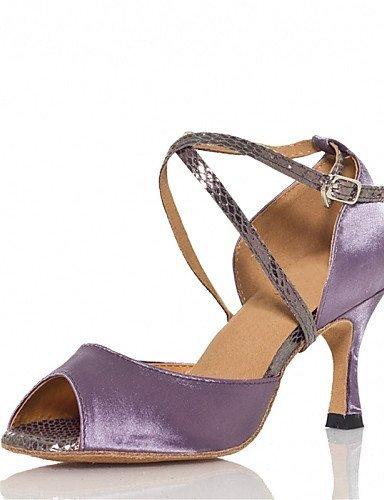 ShangYi Chaussures de danse(Vert / Violet) -Personnalisables-Talon Personnalisé-Satin-Latine / Jazz / Salsa / Samba / Chaussures de Swing Green