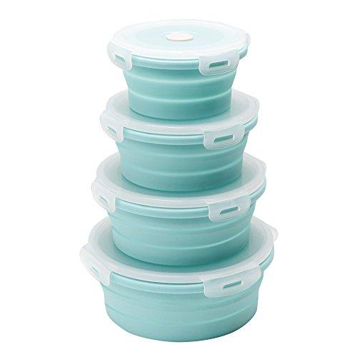 Qimh Lebensmittel-Aufbewahrungsboxen, rund, flach, stapelbar, faltbar, Silikon, 4 Stück, für Mittagessen, Bentobox E-4 -