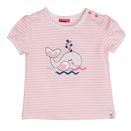 SALT AND PEPPER Baby-Mädchen B T-Shirt Summer Stripe, Rosa (Rose Melange 810), 86