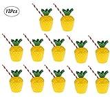 Fortuning's JDS Tazze da bere in plastica con ananas tropicale Decorazione da festa estiva hawaiana