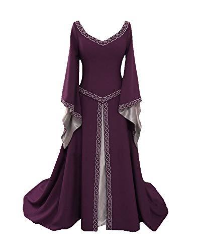 Liangzhu Damen Langarm Mittelalter Kleid Gothic Viktorianischen Königin Kostüm V-Ausschnitt Prinzessin Renaissance Bodenlänge Mehrfarbig Kleider Violett XL