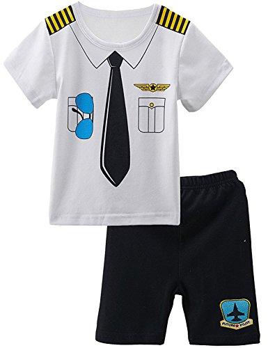 2 Stücke Piraten Kostüm Shirt Sets (0-3 Monate, Pilot) (Kleinkind Junge Pilot Kostüm)