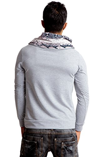24brands Herren Longsleeve Sweater Langarm Sweatshirt Langarmshirt Pullover mit Snake Print Kragen - 2815 Grau