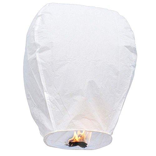 Neue Extra große chinesische Himmel fliegen Feuer Papier Laternen wünschen Ballon wünschen Lampe für Hochzeit Geburtstag Weihnachtsfeier weiß, biologisch abbaubar, umweltfreundliche Laternen Packung mit 10 pcs
