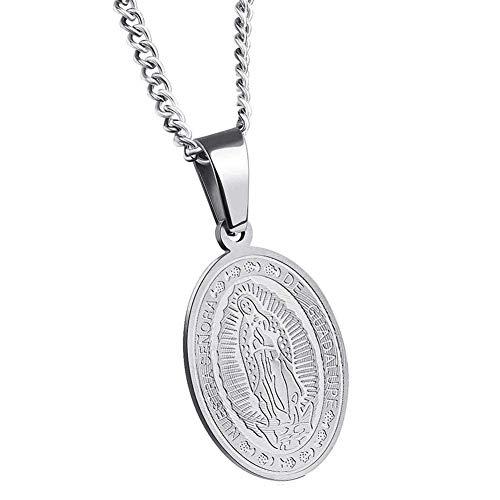 taPfPmFD El Collar de Acero Virgen María Oval Medalla Milagrosa Colgante de Acero para Hombres Mujeres