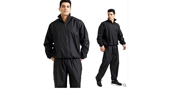 Track Weight Loss Slimmimg Fitness Gym Exercise Boxing Runing Loss Weight Training Suit Long Top and Trousers Sweat Suit Elwow Mens Plus Size Two Piece Non Rip Sauna Suit