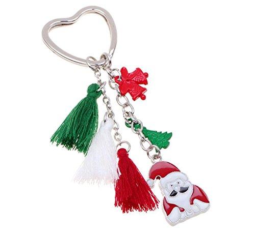 ruikey Santa Quaste Handtasche Auto Schlüsselanhänger Key Ring Anhänger Geschenk für Weihnachten Dekoration, Santa Claus#2, 13.5cm x 5cm (Geldbörse Claus)