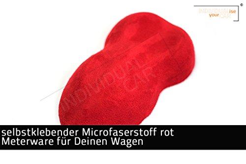 IndividualiseYourCar Mikrofaserstoff selbstklebend - ähnlich Alcantara - Stretch Folie Stoff (100cm x 146cm (29,79€/m²), rot)