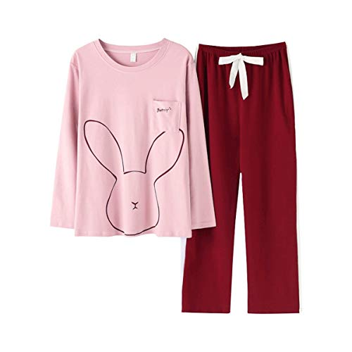 TENGTENGCAI Feder Pyjama Damen Baumwolle Pyjama Sets Cartoon Home Tragen Anzüge Langarm Schlafanzug Rosa XXL