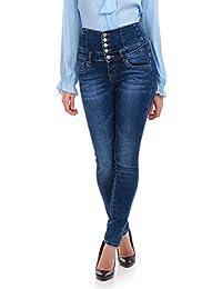 La Modeuse - Jeans taille haute 5 boutons bleu délavé