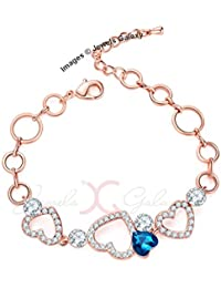 Jewels Galaxy Exclusive Luxuria Collection Hearts Design Rose Gold Plated Bracelet For Women