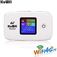 KuWFi Travel Partner 150Mbps LTE Mobile WiFi Hotspot 4G LTE Router with SIM Card Slot for Travel Support B1/B3/B5/B7/B8/B20 work with Mobily/Zain/STC