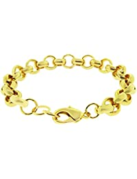 "LUXURY Belcher Bracelet - 24 k Gold plated - New - 10mm 8"" Solid Bling chunky"