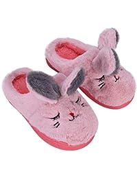 f98d464a42d Pantoufles Enfants Filles Garçon Chaussons Maison en Peluche Hiver  Antidérapant Chaussures Motif Animaux Mignon Mules d