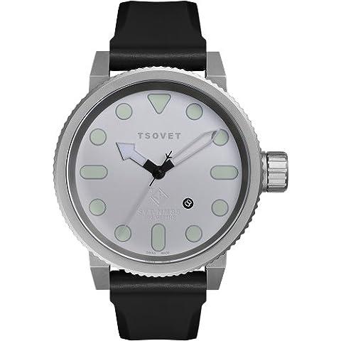 Tsovet SVT-NM85-110110-02 - Reloj analógico de cuarzo para hombre, correa de goma color negro
