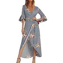 Vestido Largo Vestido para Mujer,Vestido Largo de Manga Corta con Estampado de