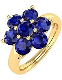 18K Gold Blue Sapphire Star Form Engagement Ring (11/2Karat)