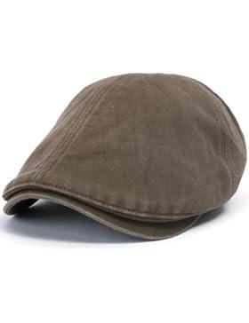 ililily Schirmmütze: auch Flat Cap genannt, besteht aus gewaschener Baumwolle, Cabbie (Chauffeurmütze), Gatsby...