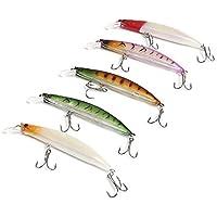 Shuzhen,5pcs Forma de pez Realista Pesca señuelo Cebo para Actividad al Aire Libre(Color:Colormix)